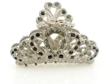 Gold Plated Fashion Diamond Grey Black crown Rhinestone Metal Hair Crystal Claw