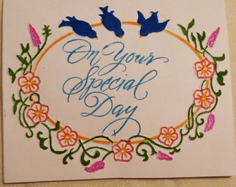 Handmade Greeting Card,  On Your Special Day Card, Birds Card, All Occasion Card,  Greeting Card, Made in the USA, #61