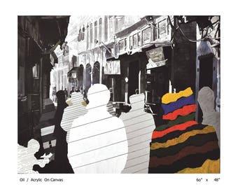 Paintings, Oil on Canvas, village, city scap.