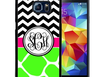 Monogrammed Rubber Case For Samsung S5, S6, S6 edge, S6 Edge Plus, S7, S7 Edge,  8, 8 plus - Lime Giraffe Chevron