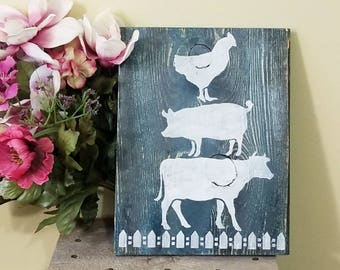 Cow, Pig, Chicken Country Farmhouse Rustic Wall Decor