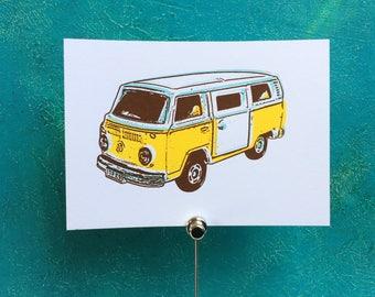 "Map | Screen Printing | ""VW Bus"""