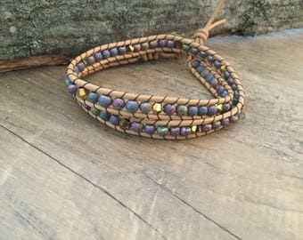 A1036 Leather Double Wrap Bracelet with 5mm Multi Colored Ceramic Beads