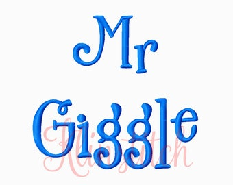 50% Sale!! Mr Giggle Font Embroidery Fonts 3 Sizes Fonts BX Fonts Embroidery Designs PES Fonts Alphabets - Instant Download