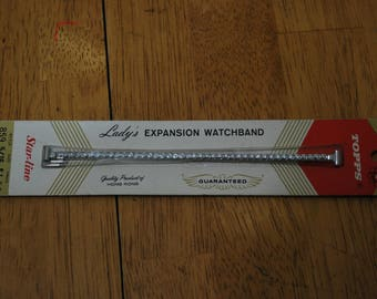 Topps/Star-Line Lady's Expansion Watchband Circular Design #859 5/16 - 5 inch T to T clasp Old Stock New in Pack
