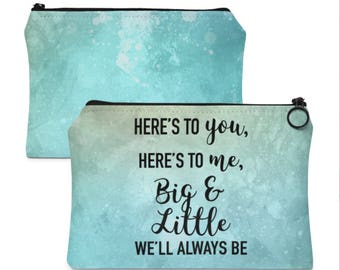 Big and Little Sorority Girly Blue Makeup Bag Pencil Case Toiletry Bag Gift