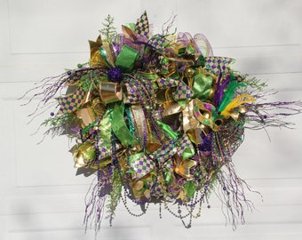 Mardi Gras Wreath, Fat Tuesday Wreath, Mardi Gras Front Door Wreath, Mardi Gras Wreath With Mask
