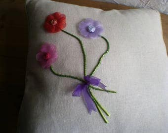 Cushion Cover, Seat Pad Cover, Pillow Cover, Home Furnishing, Hand Finished, Applique Decoration, Unique, Mothers Day