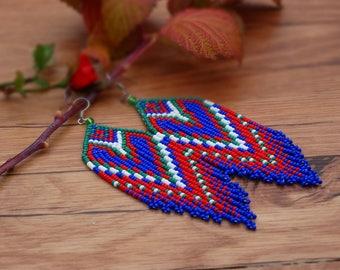 """Long handmade earrings """"Fire Water"""""""