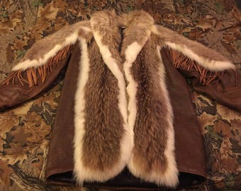 Leather coat with coyote fur