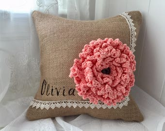 Spring Flower pillow, Personalized pillow, Burlap pillow with a pink crochet flower, Bridesmaid's personalized gift ,Nursery decor,