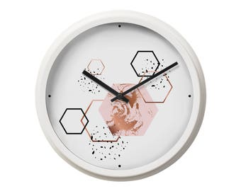 Wall Clock Geometric Clock Home Decor Housewarming Gift Large Wall Clock Modern Clock Office Clock Unique Wall Clock Wall Art Print BP2069