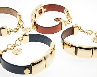 Italian leather Bracelet Gold Finish With ferrules In Zamak. M-101-O