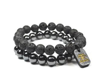 Lava Rock and Hematite Bracelet Set