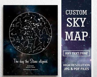 Constellation Map Custom, Custom Star Map Digital, Constellation Map By Date, Constellation Print Personalized, Night Sky Gift, Sky Map Pdf