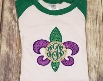 Mardi Gras Raglans, Girls Green and White Ruffle Raglan Mardi Gras shirt and Ruffle Pants