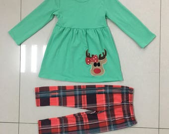 Reindeer Games Winter/Christmas Girls Outfit (0M through 3T sizes)