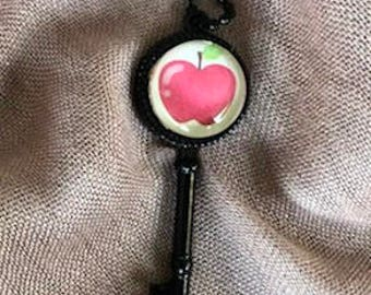 Apple for the Teacher!  Black key necklace with glass Cabochon