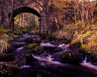 Rushing river under stone bridge.Peak District.  A3 and A4 prints