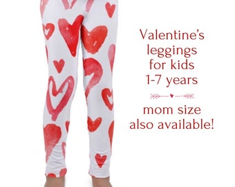 Valentines day Red Hearts Kid's leggings, Love toddler and preschooler pants,  Valentine's gift