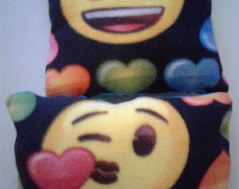 Emoji fleece & minky throw pillows