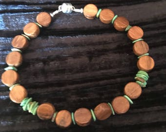 Turquoise & wooden beads