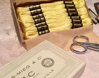 Vintage French Embroidery Floss Thread Original Packaging Sunny Yellow