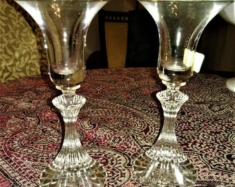 Mikasa Crystal The Ritz 7 inch Candlestick Holders, Set of Two
