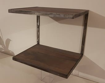 Contemporary nightstand wood and steel