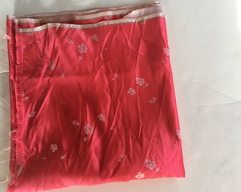Hong Kong Vintage Satin Silk Pink Fabric 3 yard  Length Never Used