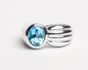 Topaz Blue Silver Ring