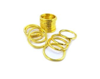 30mm Flat Split Ring Stainless Steel with Gold Plated Finish, 10, 25, 100pc With or Without Chain
