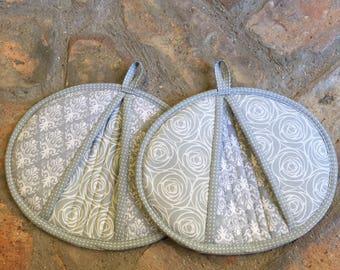 Handmade Gray and White Potholders, Hotpads