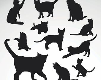 Cat Wall Decal / Kitty Wall Decal / 11 Cats Sticker / Kids Room Decal /