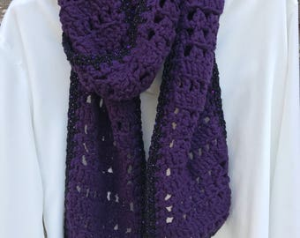 Purple bamboo scarf with sparkles