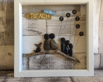 Family pebble art, family, dog, unique, handmade, pebbles, pebble frame, personalised, customised, beach, pebble picture, mothers day