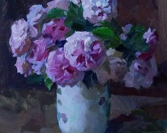 Still life Roses flowers  Original bouquet Oil on cardboard by Pidvarchan Victoriya