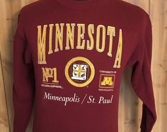 Vintage University of Minnesota Golden Gophers 1980s Sweatshirt - NCAA Sweatshirt - Minnesota Gopher Football - Basketball (Small)