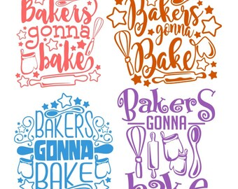 Bakers gonna bake Cooking Cuttable Design PNG DXF SVG & eps File Silhouette Designs Cameo