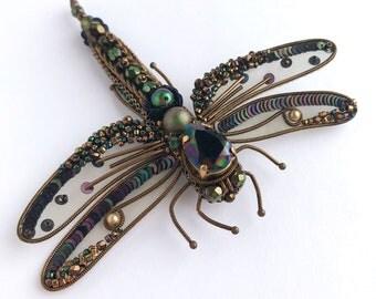 Dragonfly brooch, Insect brooch, embroidered brooch, beaded jewelry, dark brooch, Swarovski brooch, vintage dragonfly, sequins brooch, pin