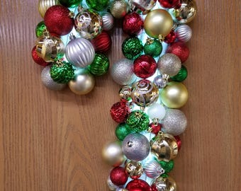 Candy Cane Ornament Wreath