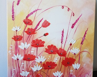 Oil Painting on Canvas 'Poppies Field', 35x45