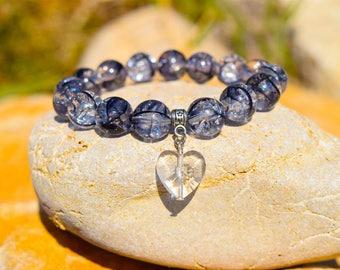 Handmade Clear Glass Beaded Bracelet For Her