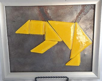 Fused Glass Tangram Puzzle- Yellow