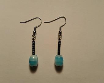 Light Blue, White & Black Earrings