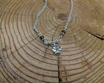 Little Flower Charm on Silver Stainless Steel Chain With Dark Purple and Crystal Beads