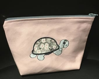 Pink and gray pouch embroidered turtle