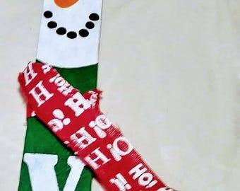 """Hand Painted """"JOY"""" snowmen with burlap """"ho ho ho"""" scarf."""