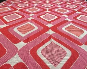 Vintage 70s fabric 50x110m Pink Orange diamond