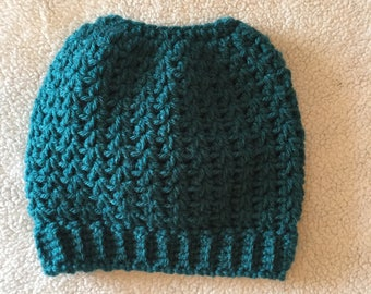 Teal ponytail Hat Young Adult